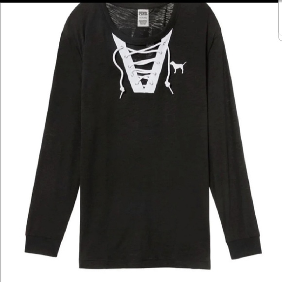 PINK Victoria's Secret Tops - Vs pink lace up tee